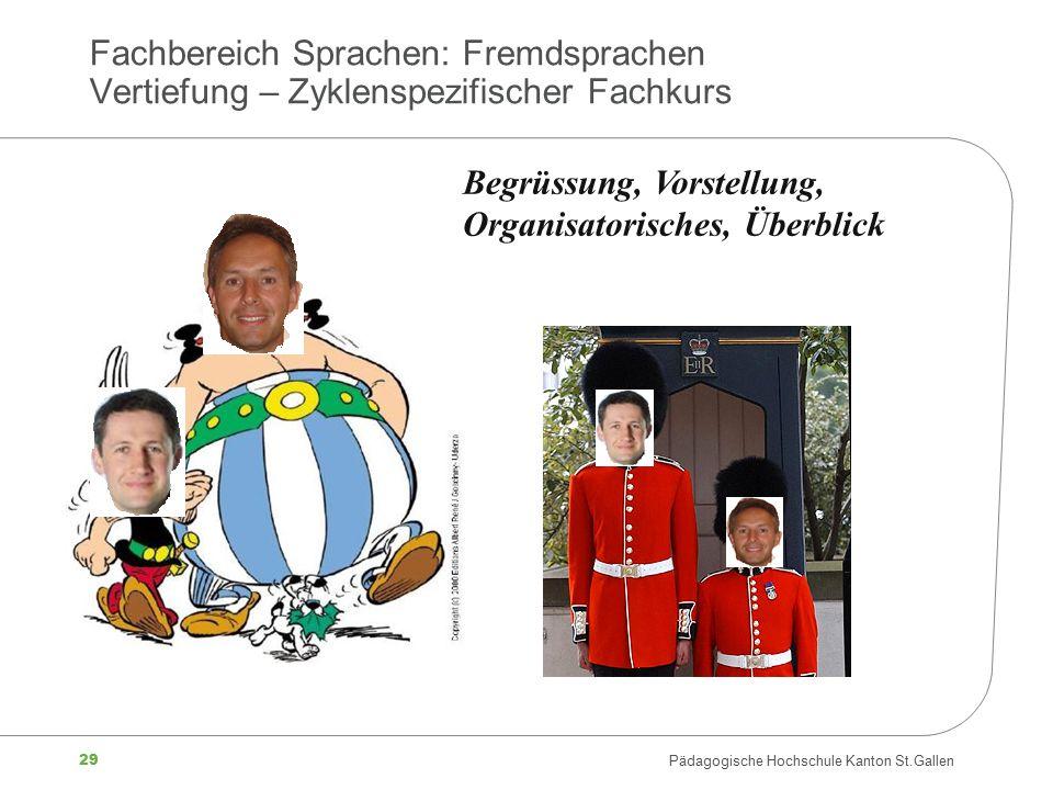 29 Pädagogische Hochschule Kanton St.Gallen Fachbereich Sprachen: Fremdsprachen Vertiefung – Zyklenspezifischer Fachkurs Begrüssung, Vorstellung, Orga