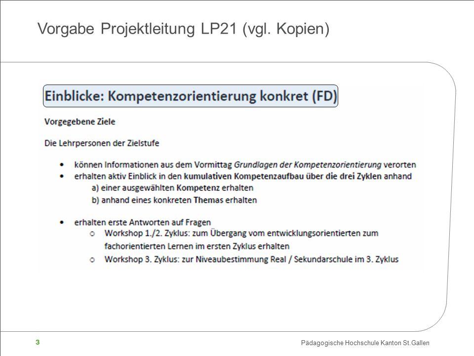 3 Pädagogische Hochschule Kanton St.Gallen Vorgabe Projektleitung LP21 (vgl. Kopien)