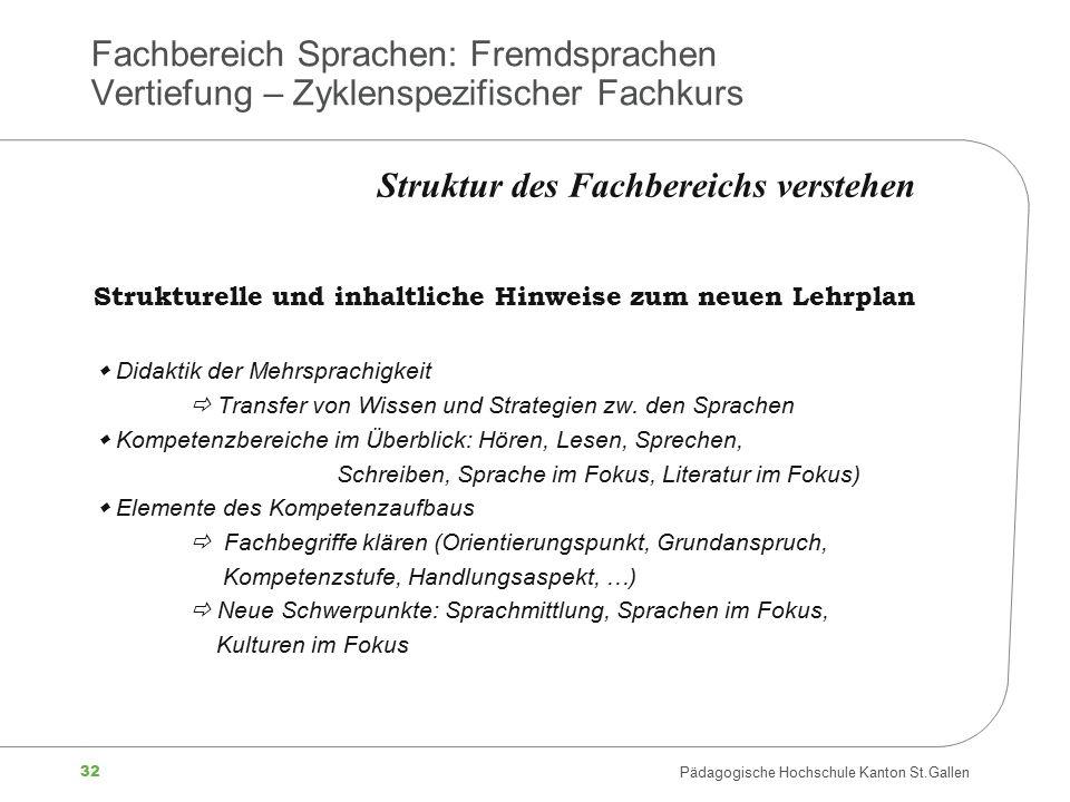 32 Pädagogische Hochschule Kanton St.Gallen Fachbereich Sprachen: Fremdsprachen Vertiefung – Zyklenspezifischer Fachkurs Strukturelle und inhaltliche