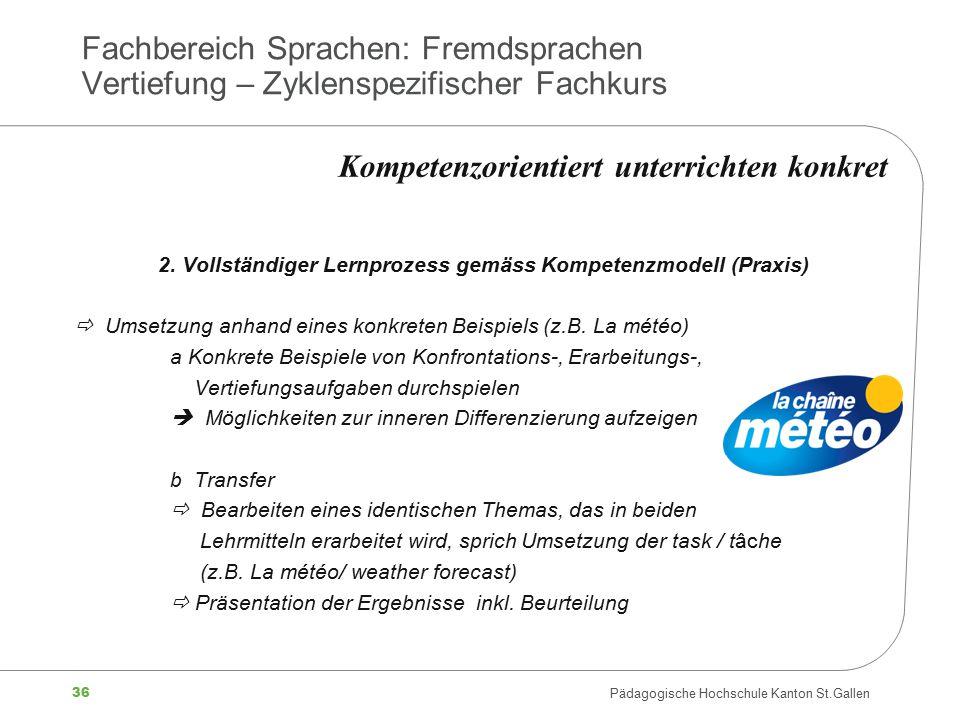 36 Pädagogische Hochschule Kanton St.Gallen Fachbereich Sprachen: Fremdsprachen Vertiefung – Zyklenspezifischer Fachkurs 2. Vollständiger Lernprozess