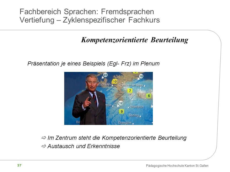 37 Pädagogische Hochschule Kanton St.Gallen Fachbereich Sprachen: Fremdsprachen Vertiefung – Zyklenspezifischer Fachkurs Präsentation je eines Beispie