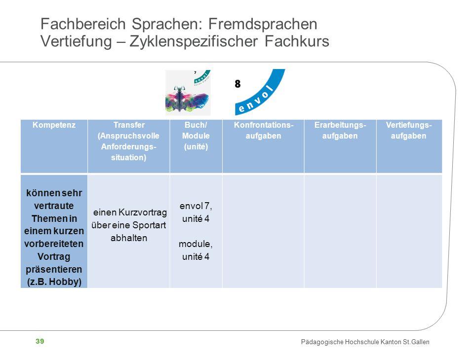 39 Pädagogische Hochschule Kanton St.Gallen Fachbereich Sprachen: Fremdsprachen Vertiefung – Zyklenspezifischer Fachkurs Kompetenz Transfer (Anspruchs
