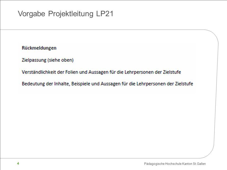 4 Pädagogische Hochschule Kanton St.Gallen Vorgabe Projektleitung LP21
