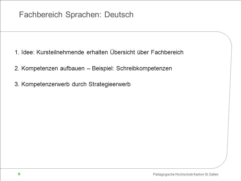 8 Pädagogische Hochschule Kanton St.Gallen Fachbereich Sprachen: Deutsch 1. Idee: Kursteilnehmende erhalten Übersicht über Fachbereich 2. Kompetenzen