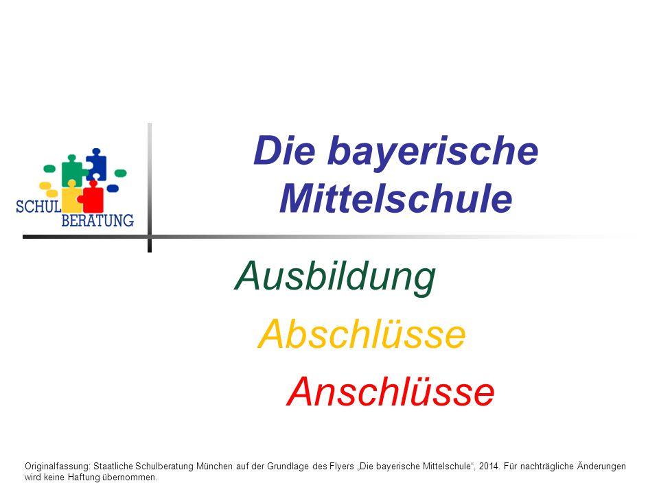"""Deutschfördermaßnahmen an der Mittelschule Originalfassung: Staatliche Schulberatung München auf der Grundlage des Flyers """"Die bayerische Mittelschule , 2014."""
