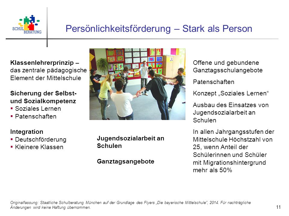 """Persönlichkeitsförderung – Stark als Person Originalfassung: Staatliche Schulberatung München auf der Grundlage des Flyers """"Die bayerische Mittelschule , 2014."""