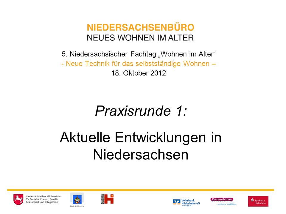 """5. Niedersächsischer Fachtag """"Wohnen im Alter"""" - Neue Technik für das selbstständige Wohnen – 18. Oktober 2012 _________________________ Praxisrunde 1"""