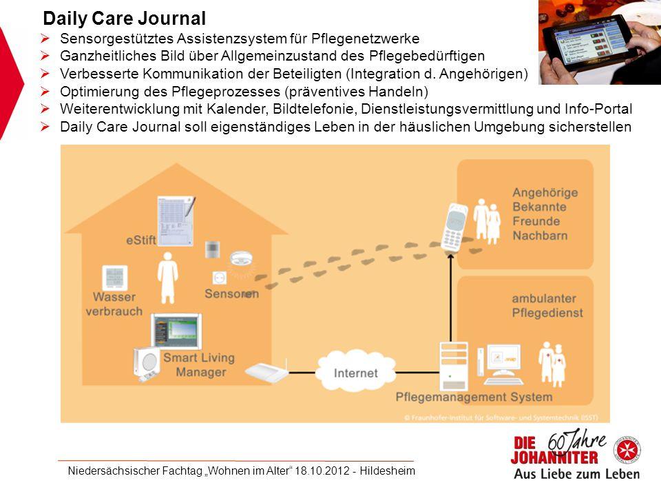 Daily Care Journal  Sensorgestütztes Assistenzsystem für Pflegenetzwerke  Ganzheitliches Bild über Allgemeinzustand des Pflegebedürftigen  Verbesserte Kommunikation der Beteiligten (Integration d.