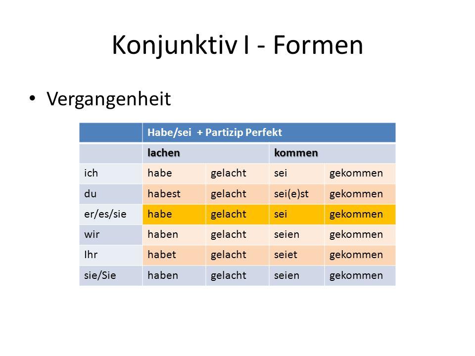 Konjunktiv I - Formen Vergangenheit Habe/sei + Partizip Perfekt lachenkommen ichhabegelachtseigekommen duhabestgelachtsei(e)stgekommen er/es/siehabege
