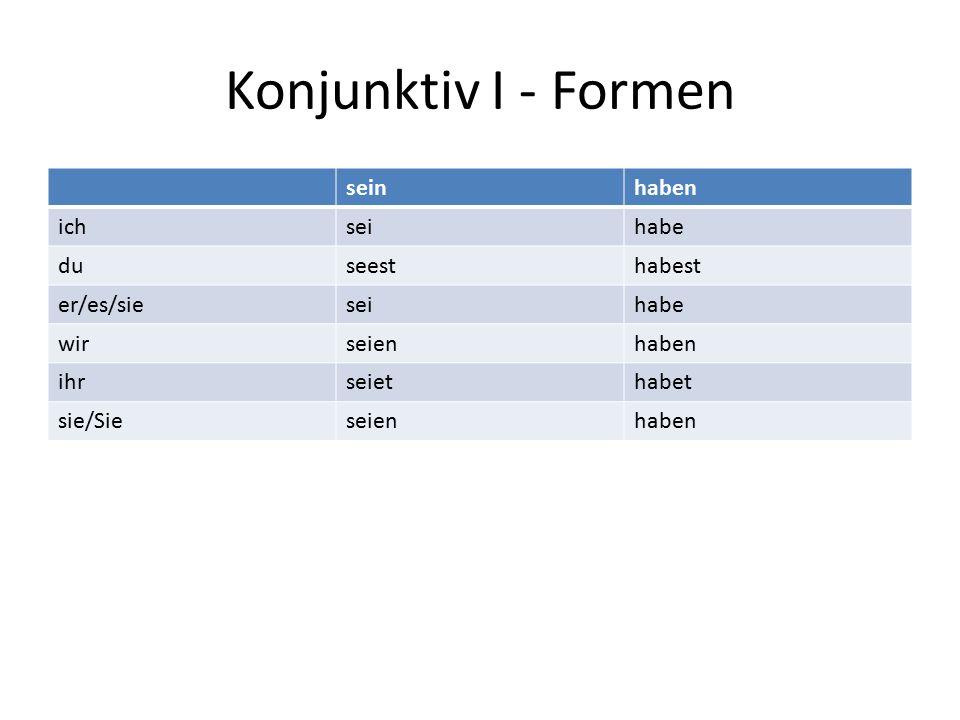 Konjunktiv I - Formen Welche Formen sollte man lernen.