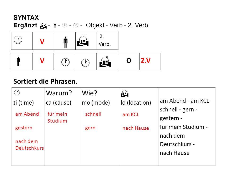   2. Verb.  SYNTAX Ergänzt  -  -  -  - Objekt - Verb - 2. Verb Sortiert die Phrasen.  ti (time) Warum? ca (cause) Wie? mo (mode)  lo (locatio