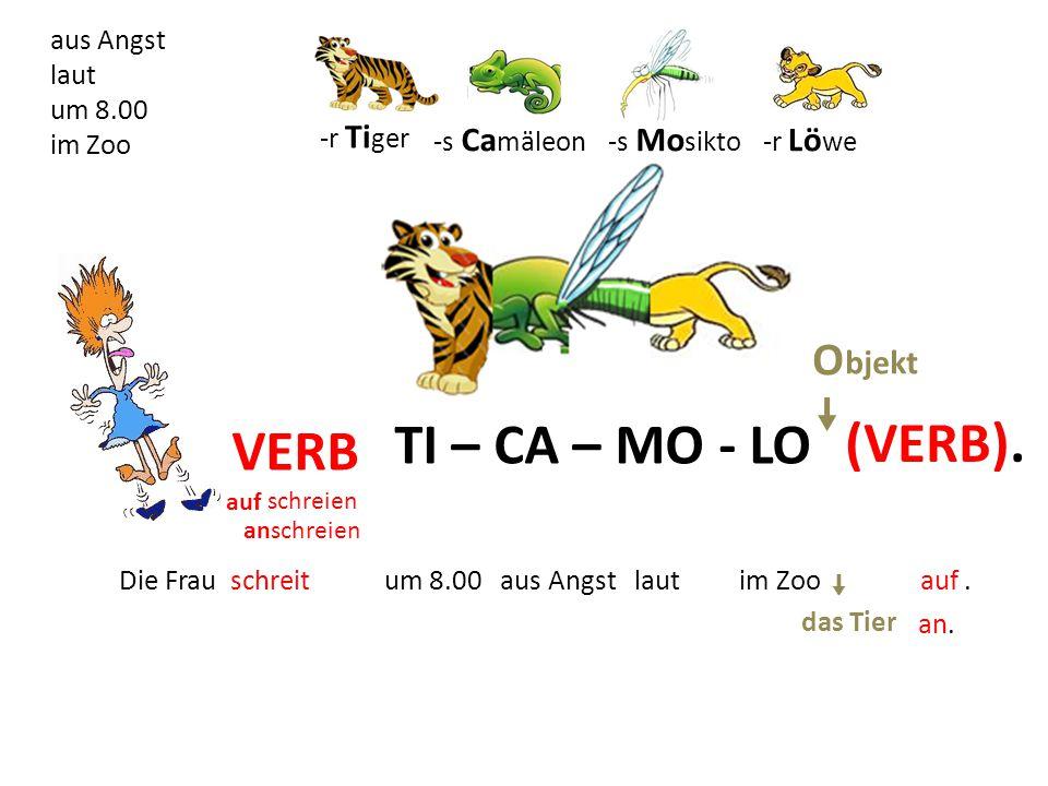TI – CA – MO - LO VERB aufschreien (VERB).