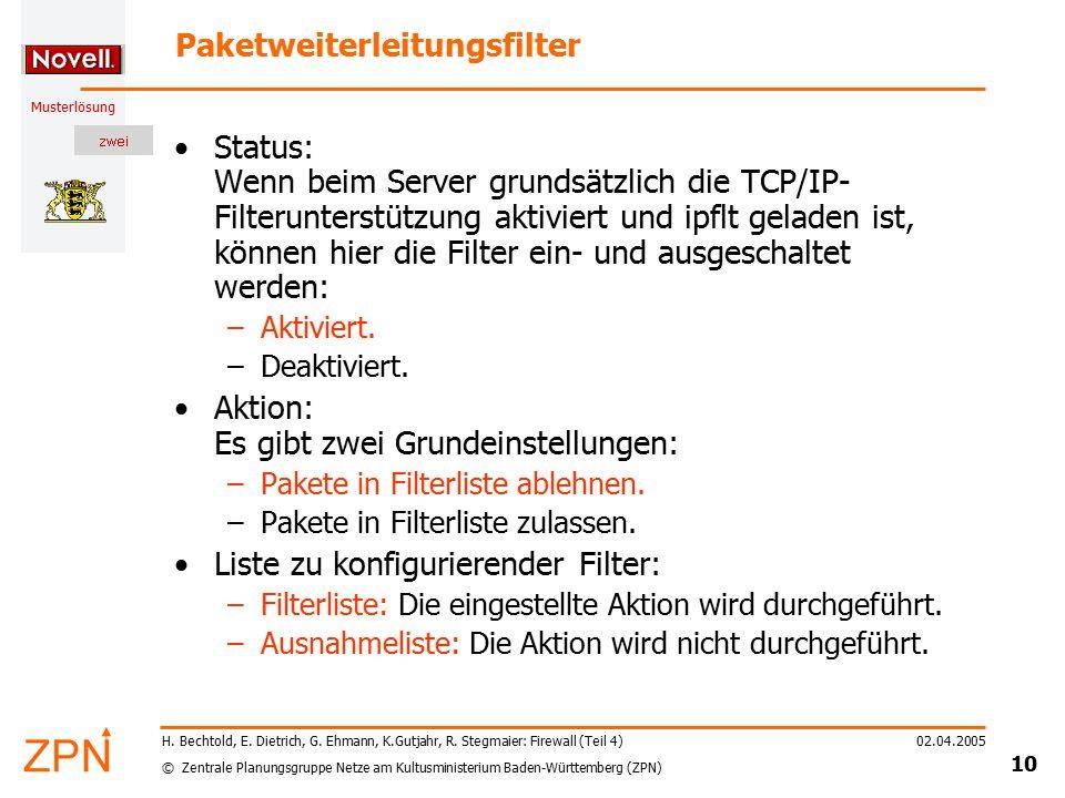 © Zentrale Planungsgruppe Netze am Kultusministerium Baden-Württemberg (ZPN) Musterlösung 02.04.2005 10 H. Bechtold, E. Dietrich, G. Ehmann, K.Gutjahr