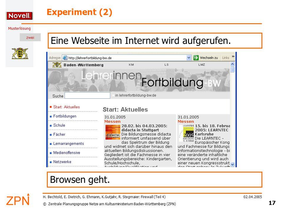 © Zentrale Planungsgruppe Netze am Kultusministerium Baden-Württemberg (ZPN) Musterlösung 02.04.2005 17 H. Bechtold, E. Dietrich, G. Ehmann, K.Gutjahr