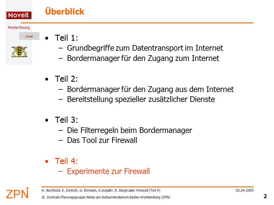 © Zentrale Planungsgruppe Netze am Kultusministerium Baden-Württemberg (ZPN) Musterlösung 02.04.2005 2 H. Bechtold, E. Dietrich, G. Ehmann, K.Gutjahr,