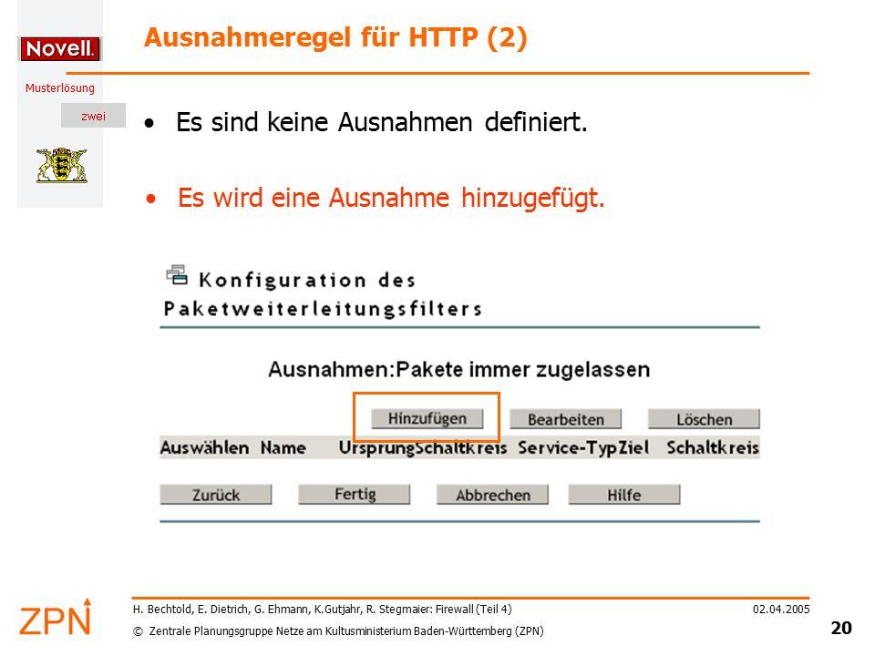 © Zentrale Planungsgruppe Netze am Kultusministerium Baden-Württemberg (ZPN) Musterlösung 02.04.2005 20 H. Bechtold, E. Dietrich, G. Ehmann, K.Gutjahr