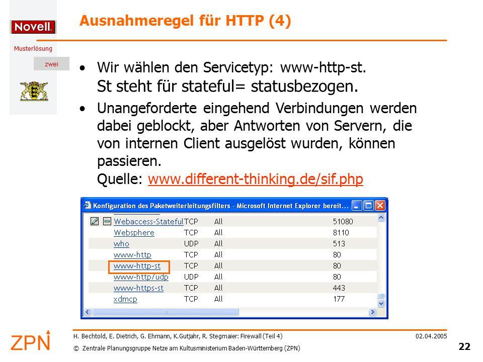 © Zentrale Planungsgruppe Netze am Kultusministerium Baden-Württemberg (ZPN) Musterlösung 02.04.2005 22 H. Bechtold, E. Dietrich, G. Ehmann, K.Gutjahr