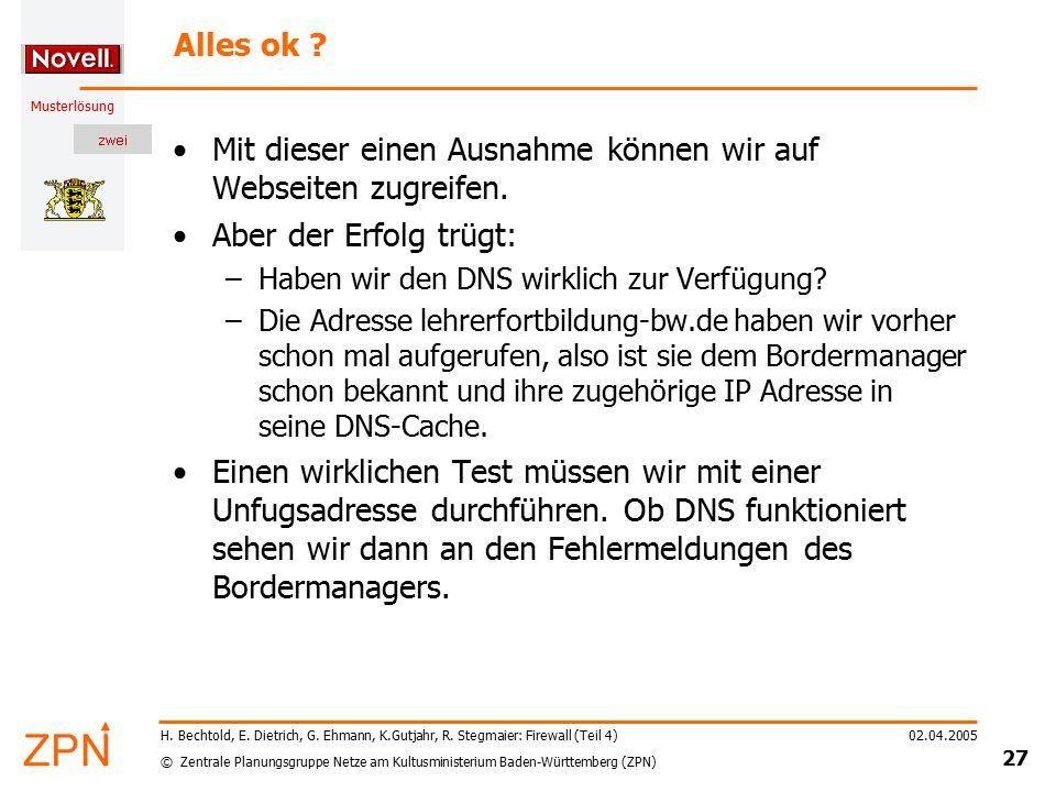 © Zentrale Planungsgruppe Netze am Kultusministerium Baden-Württemberg (ZPN) Musterlösung 02.04.2005 27 H. Bechtold, E. Dietrich, G. Ehmann, K.Gutjahr