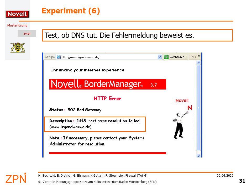 © Zentrale Planungsgruppe Netze am Kultusministerium Baden-Württemberg (ZPN) Musterlösung 02.04.2005 31 H. Bechtold, E. Dietrich, G. Ehmann, K.Gutjahr