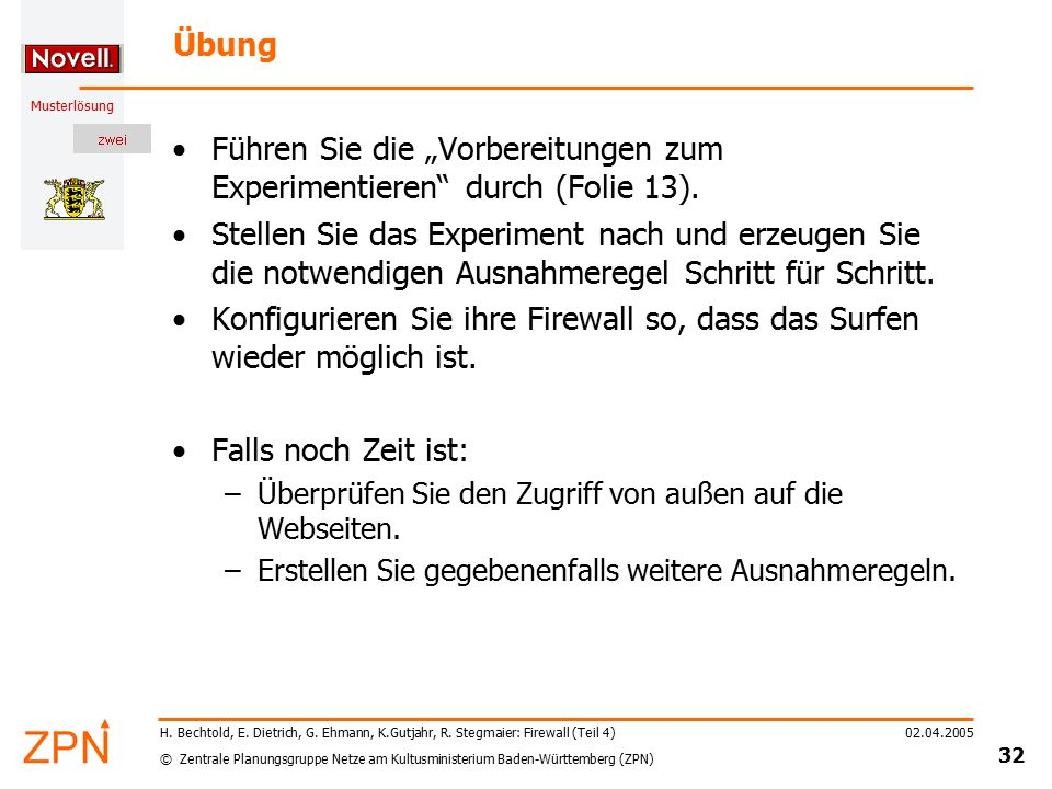 © Zentrale Planungsgruppe Netze am Kultusministerium Baden-Württemberg (ZPN) Musterlösung 02.04.2005 32 H. Bechtold, E. Dietrich, G. Ehmann, K.Gutjahr