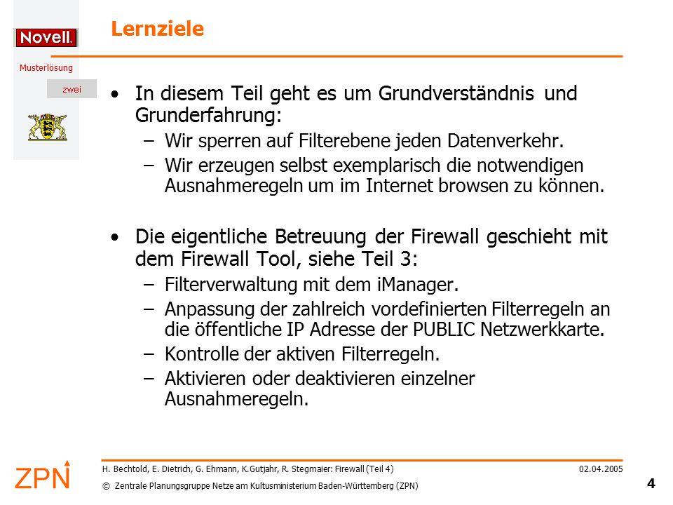 © Zentrale Planungsgruppe Netze am Kultusministerium Baden-Württemberg (ZPN) Musterlösung 02.04.2005 4 H. Bechtold, E. Dietrich, G. Ehmann, K.Gutjahr,