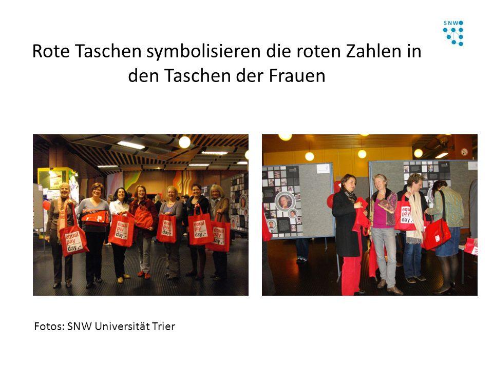 Rote Taschen symbolisieren die roten Zahlen in den Taschen der Frauen Fotos: SNW Universität Trier