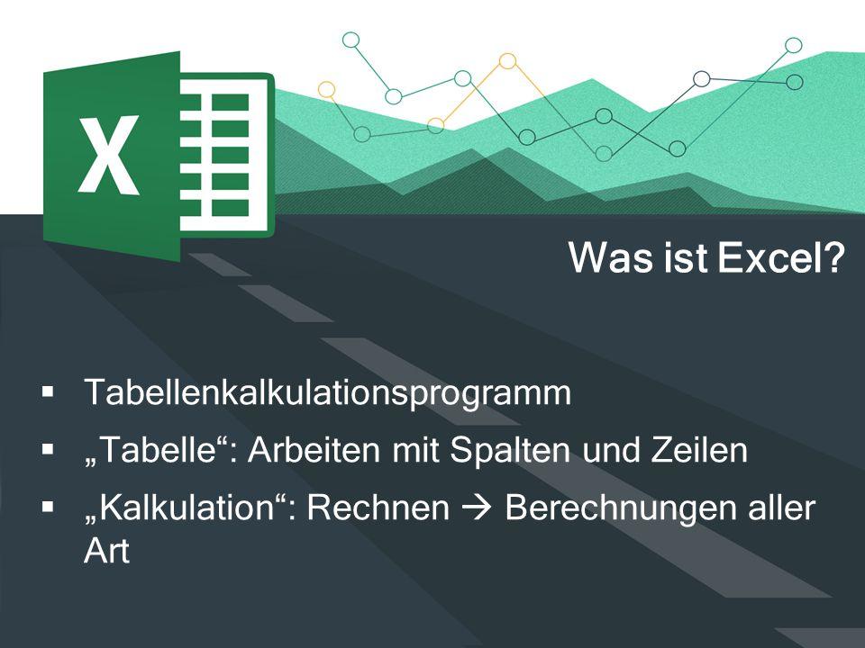 """ Tabellenkalkulationsprogramm  """"Tabelle"""": Arbeiten mit Spalten und Zeilen  """"Kalkulation"""": Rechnen  Berechnungen aller Art Was ist Excel?"""