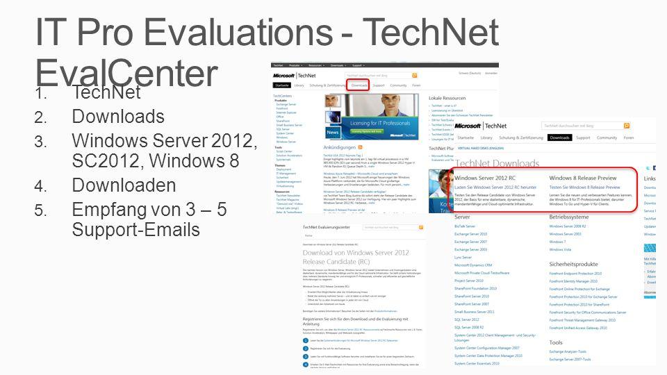 IT Pro Evaluations - TechNet EvalCenter 1. TechNet 2.