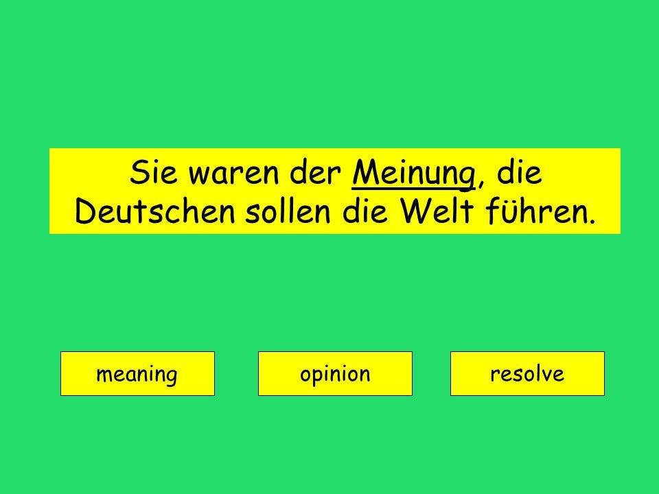 Sie waren der Meinung, die Deutschen sollen die Welt fϋhren. meaning opinionresolve