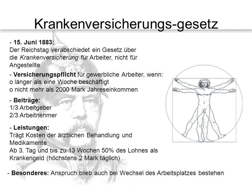 Krankenversicherungs-gesetz - 15. Juni 1883: Der Reichstag verabschiedet ein Gesetz über die Krankenversicherung für Arbeiter, nicht für Angestellte -