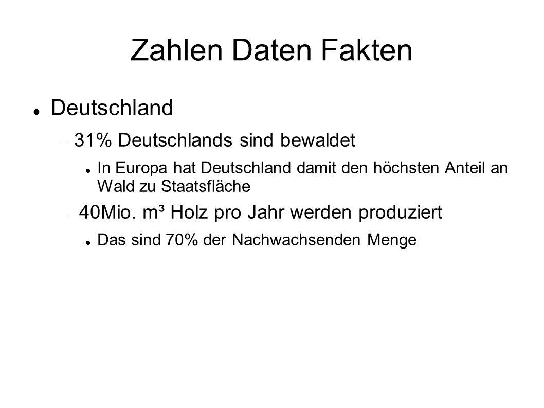 Zahlen Daten Fakten Deutschland  31% Deutschlands sind bewaldet In Europa hat Deutschland damit den höchsten Anteil an Wald zu Staatsfläche  40Mio.