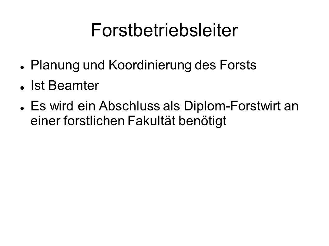 Forstbetriebsleiter Planung und Koordinierung des Forsts Ist Beamter Es wird ein Abschluss als Diplom-Forstwirt an einer forstlichen Fakultät benötigt