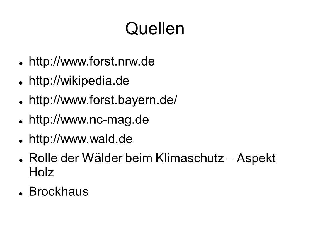 Quellen http://www.forst.nrw.de http://wikipedia.de http://www.forst.bayern.de/ http://www.nc-mag.de http://www.wald.de Rolle der Wälder beim Klimasch