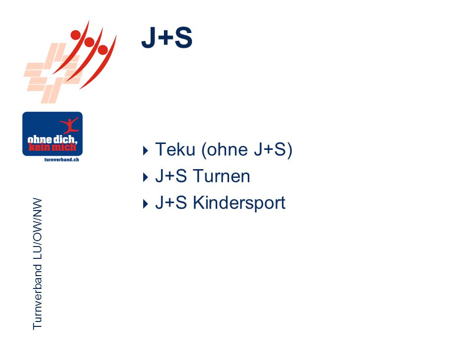Turnverband LU/OW/NW Funktionärsevent 2012 Turnverband LU/OW/NW  Teku (ohne J+S)  J+S Turnen  J+S Kindersport J+S