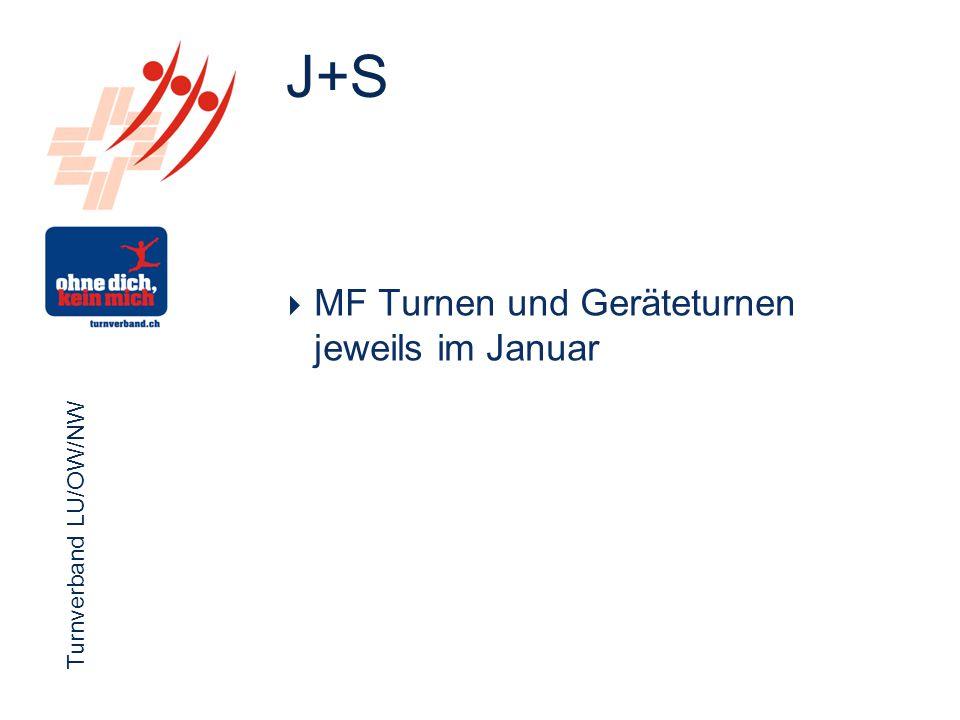 Turnverband LU/OW/NW Funktionärsevent 2012 Turnverband LU/OW/NW  MF Turnen und Geräteturnen jeweils im Januar J+S
