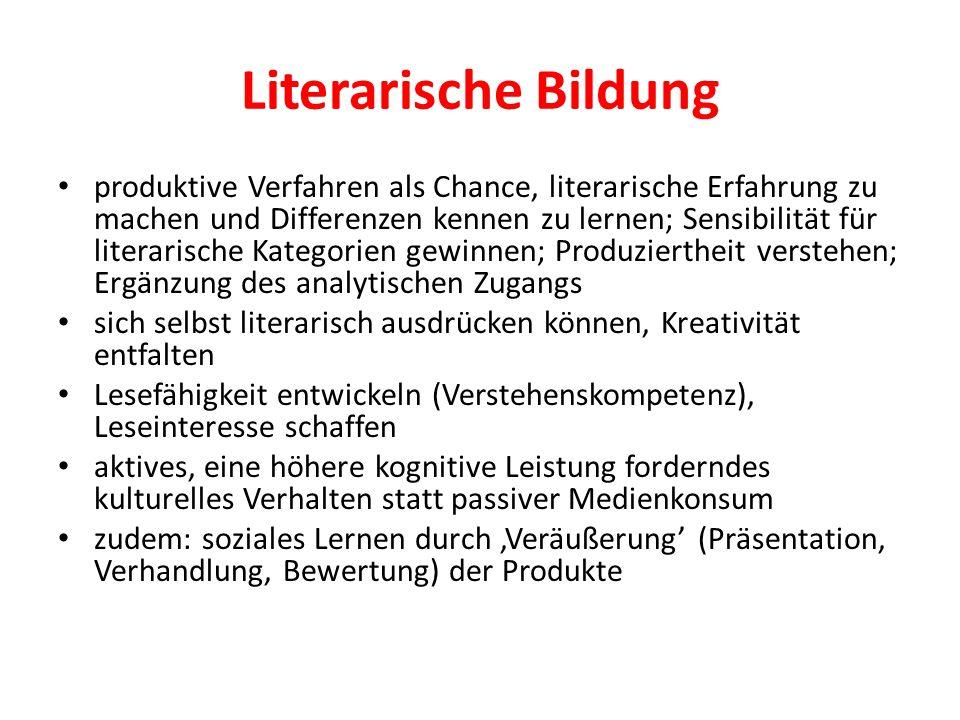 Literarische Bildung produktive Verfahren als Chance, literarische Erfahrung zu machen und Differenzen kennen zu lernen; Sensibilität für literarische
