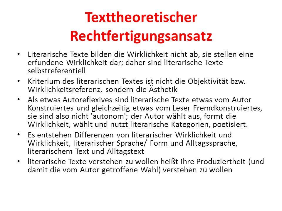 Texttheoretischer Rechtfertigungsansatz Literarische Texte bilden die Wirklichkeit nicht ab, sie stellen eine erfundene Wirklichkeit dar; daher sind literarische Texte selbstreferentiell Kriterium des literarischen Textes ist nicht die Objektivität bzw.