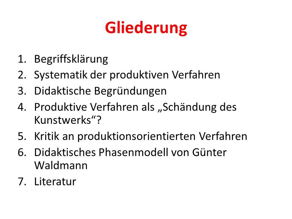 """Gliederung 1.Begriffsklärung 2.Systematik der produktiven Verfahren 3.Didaktische Begründungen 4.Produktive Verfahren als """"Schändung des Kunstwerks""""?"""
