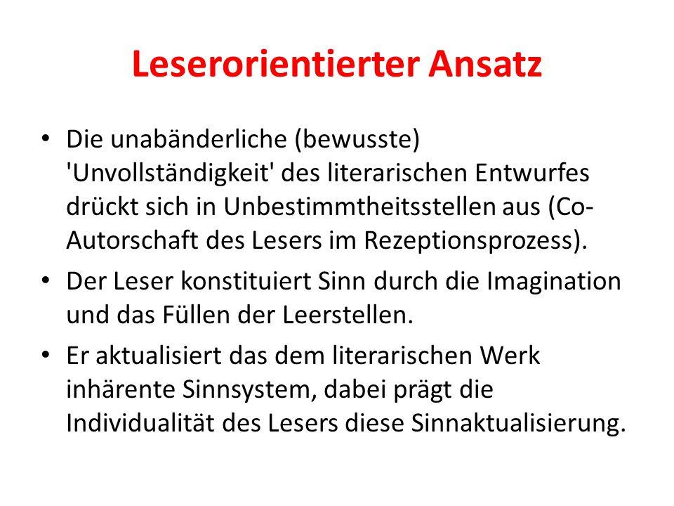 Leserorientierter Ansatz Die unabänderliche (bewusste) Unvollständigkeit des literarischen Entwurfes drückt sich in Unbestimmtheitsstellen aus (Co- Autorschaft des Lesers im Rezeptionsprozess).