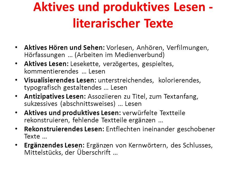 Aktives und produktives Lesen - literarischer Texte Aktives Hören und Sehen: Vorlesen, Anhören, Verfilmungen, Hörfassungen … (Arbeiten im Medienverbun