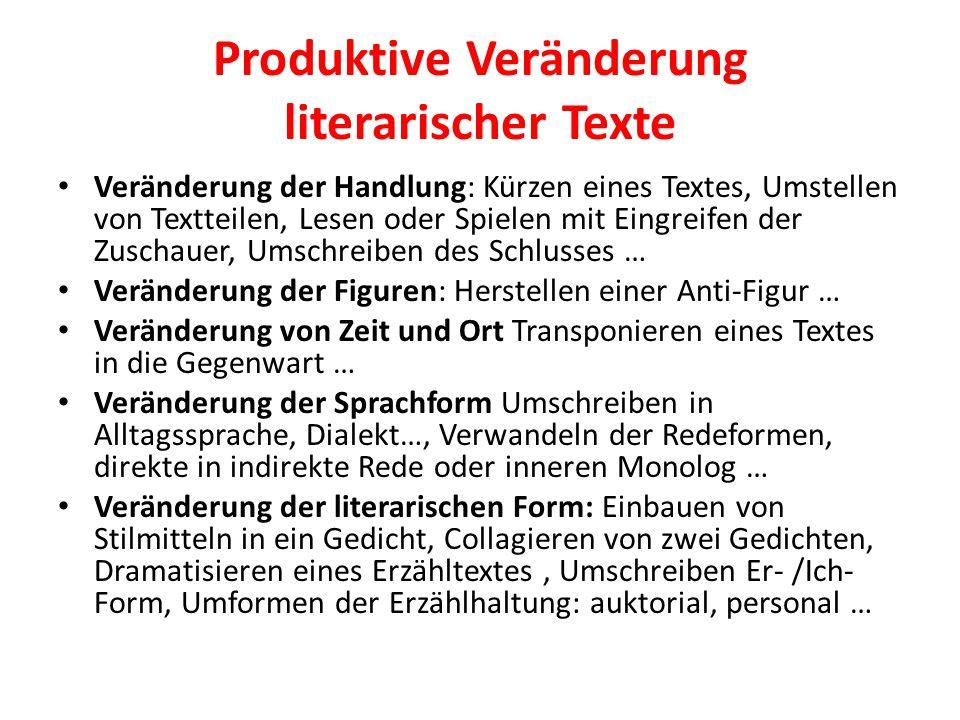Produktive Veränderung literarischer Texte Veränderung der Handlung: Kürzen eines Textes, Umstellen von Textteilen, Lesen oder Spielen mit Eingreifen