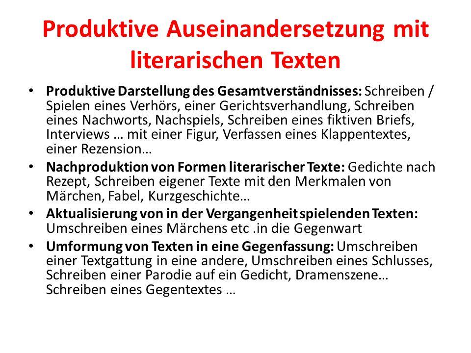 Produktive Auseinandersetzung mit literarischen Texten Produktive Darstellung des Gesamtverständnisses: Schreiben / Spielen eines Verhörs, einer Geric