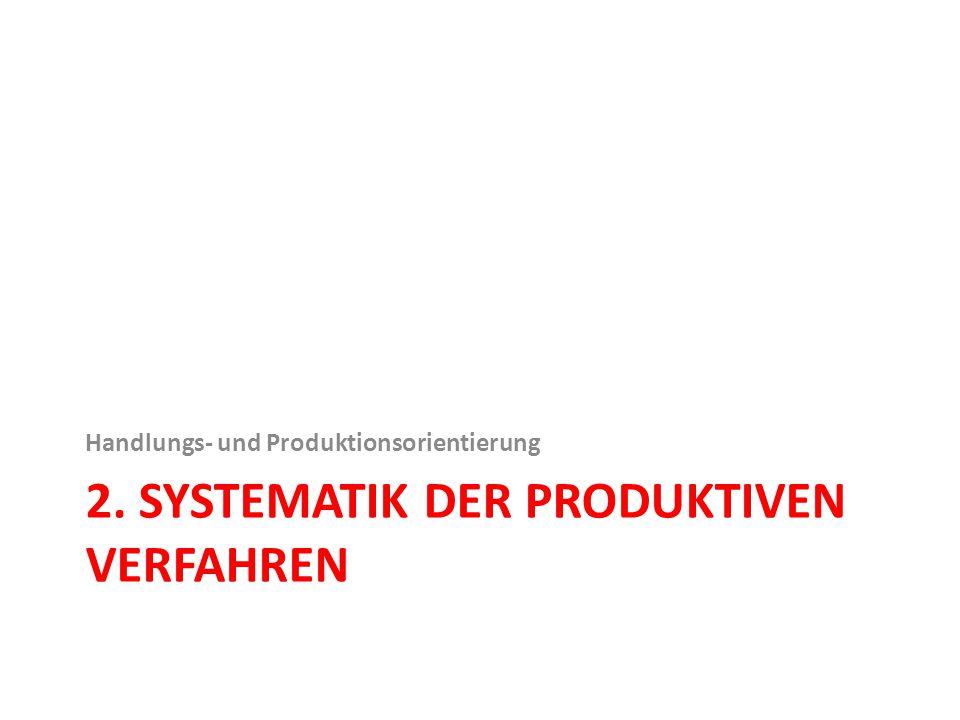 2. SYSTEMATIK DER PRODUKTIVEN VERFAHREN Handlungs- und Produktionsorientierung