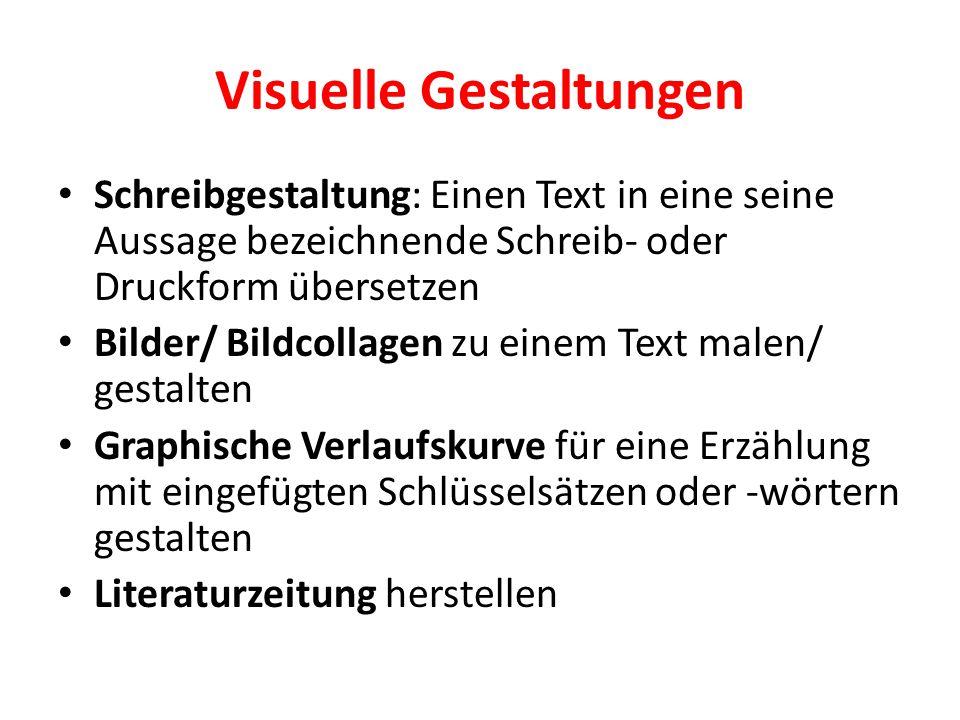 Visuelle Gestaltungen Schreibgestaltung: Einen Text in eine seine Aussage bezeichnende Schreib- oder Druckform übersetzen Bilder/ Bildcollagen zu eine