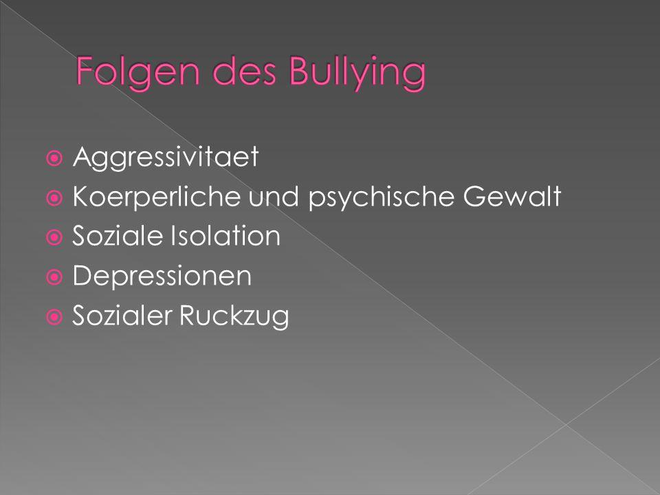  Aggressivitaet  Koerperliche und psychische Gewalt  Soziale Isolation  Depressionen  Sozialer Ruckzug