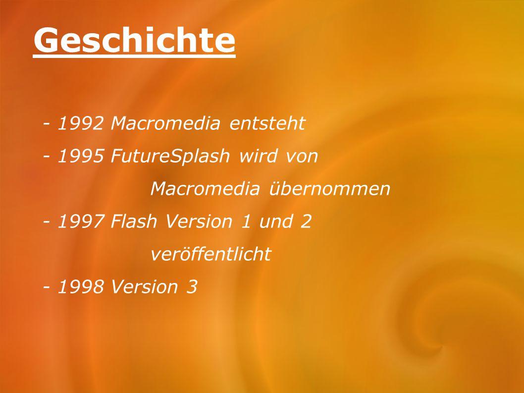 Geschichte - 1992 Macromedia entsteht - 1995 FutureSplash wird von Macromedia übernommen - 1997 Flash Version 1 und 2 veröffentlicht - 1998 Version 3