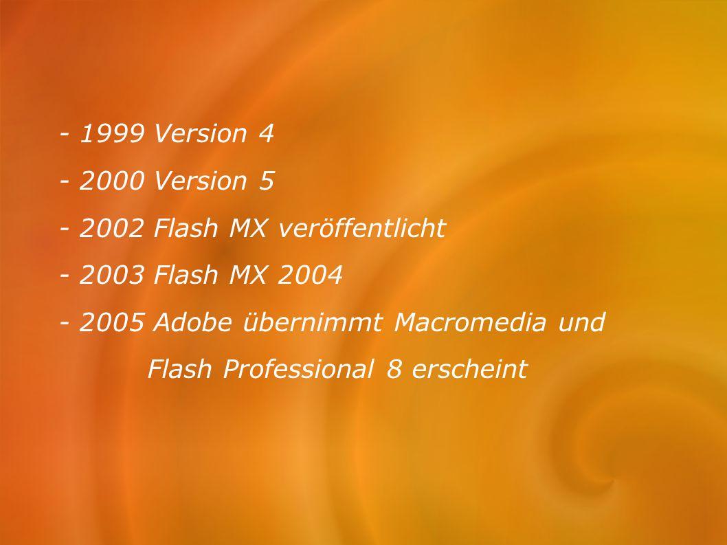 - 1999 Version 4 - 2000 Version 5 - 2002 Flash MX veröffentlicht - 2003 Flash MX 2004 - 2005 Adobe übernimmt Macromedia und Flash Professional 8 ersch