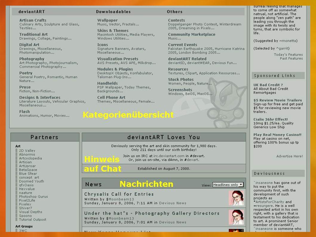 "Kunstarten ""analoge Kunst: - Fotografie - Malerei - Dichtung - Prosa - Anime ""digitale Kunst: - Flash - Fotomanipulation - Vektoren-Kunst - Pixel-Kunst - Skins - Smilys"
