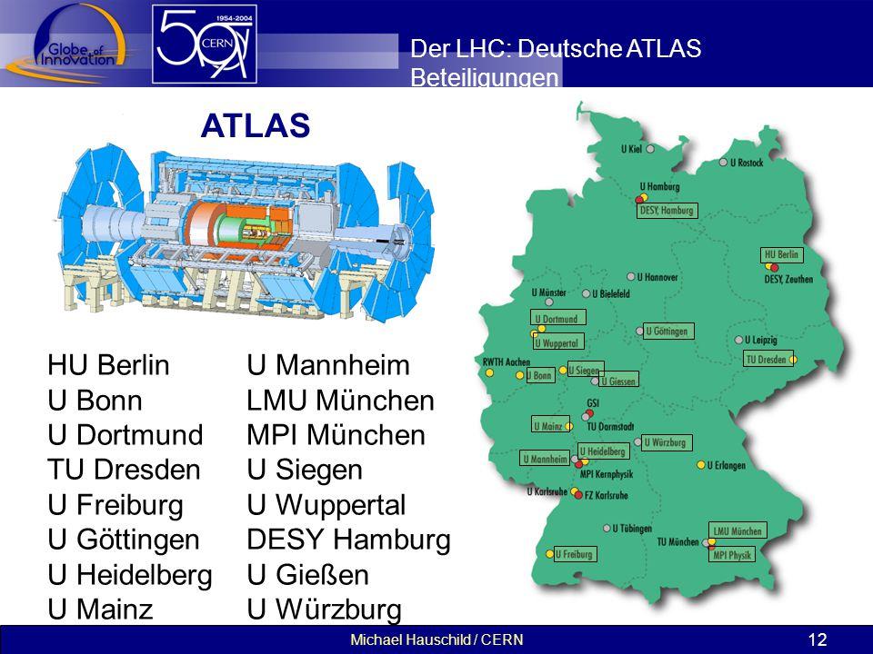 Michael Hauschild / CERN 12 Der LHC: Deutsche ATLAS Beteiligungen HU Berlin U Bonn U Dortmund TU Dresden U Freiburg U Göttingen U Heidelberg U Mainz U Mannheim LMU München MPI München U Siegen U Wuppertal DESY Hamburg U Gießen U Würzburg ATLAS
