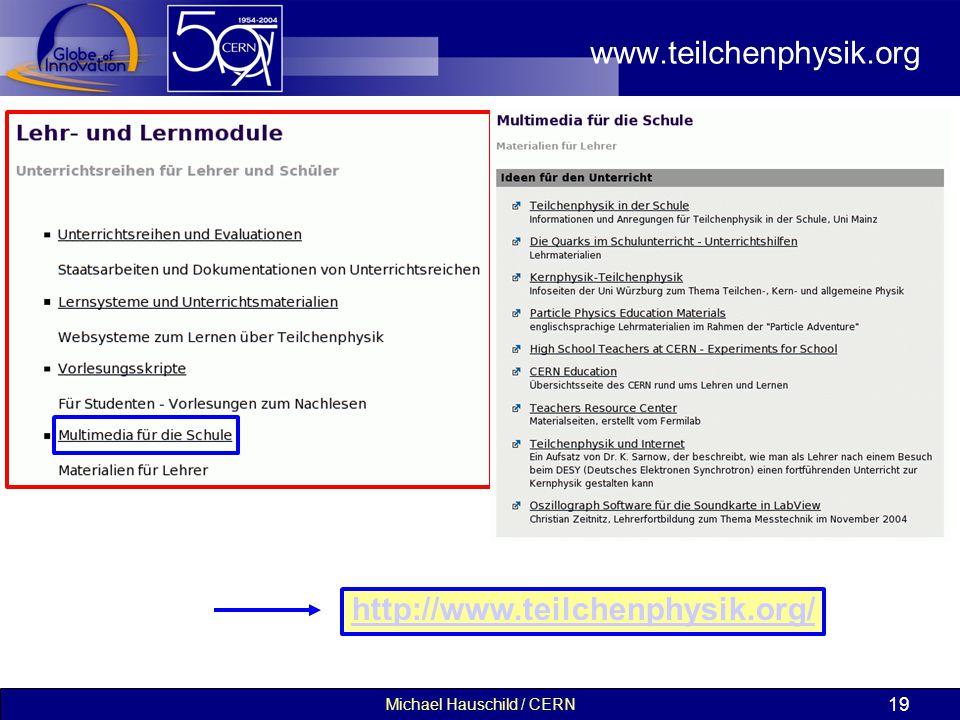 Michael Hauschild / CERN 19 www.teilchenphysik.org http://www.teilchenphysik.org/